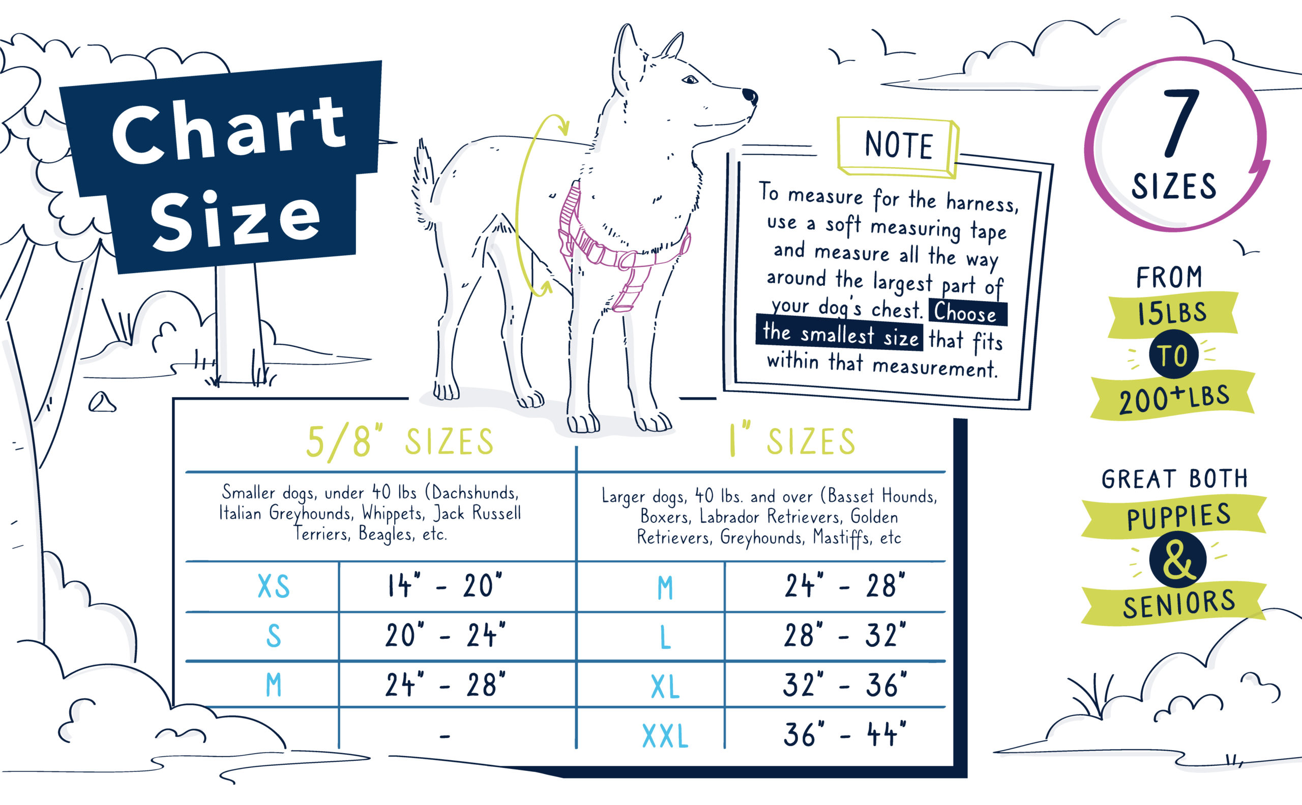 Freedom Harness Size Chart