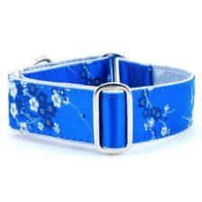 Cherry Blossoms Teal - Silk Brocade Dog Collar