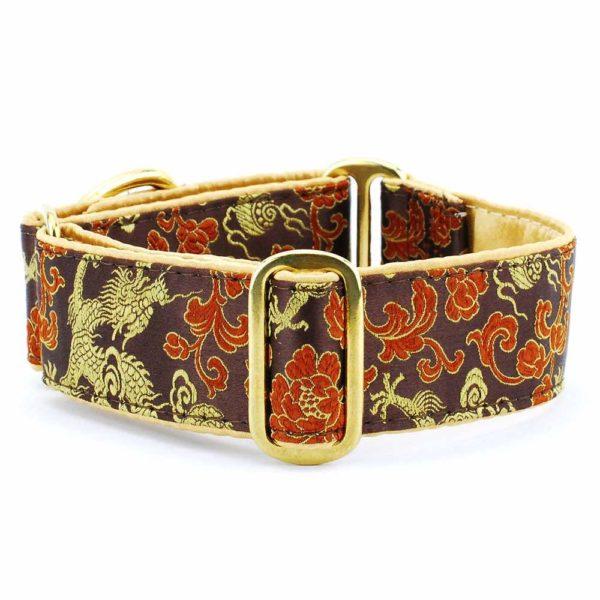 Dragon Brown - Silk Brocade Dog Collar