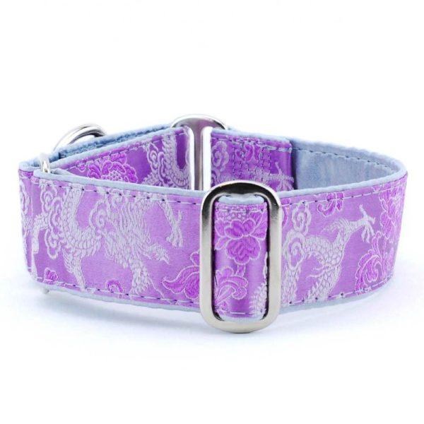 Dragon Lilac - Silk Brocade Dog Collar