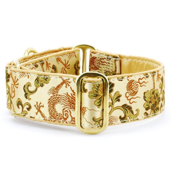 Dragon Bronze - Silk Brocade Dog Collar