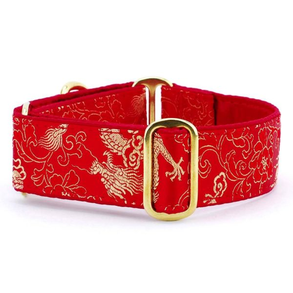 Dragon Red - Silk Brocade Dog Collar