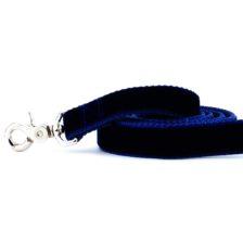 Navy Velvet Dog Leash