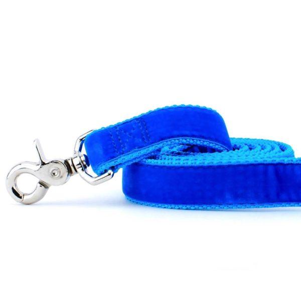 Venetian Blue Velvet Dog Leash
