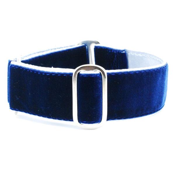 Satin Lined Holiday Velvet Blue/Silver Dog Collar