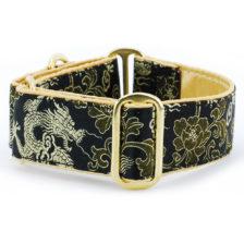 Dragon Black - Silk Brocade Dog Collar
