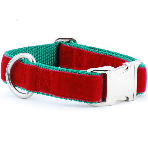 Red/Green Holiday Velvet Essential Dog Collar