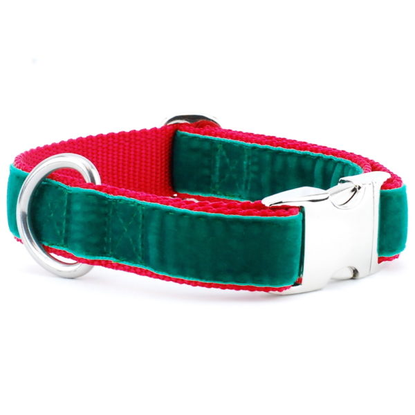 Green and Red Holiday Dog Collar