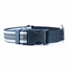 black and grey striped dog collar