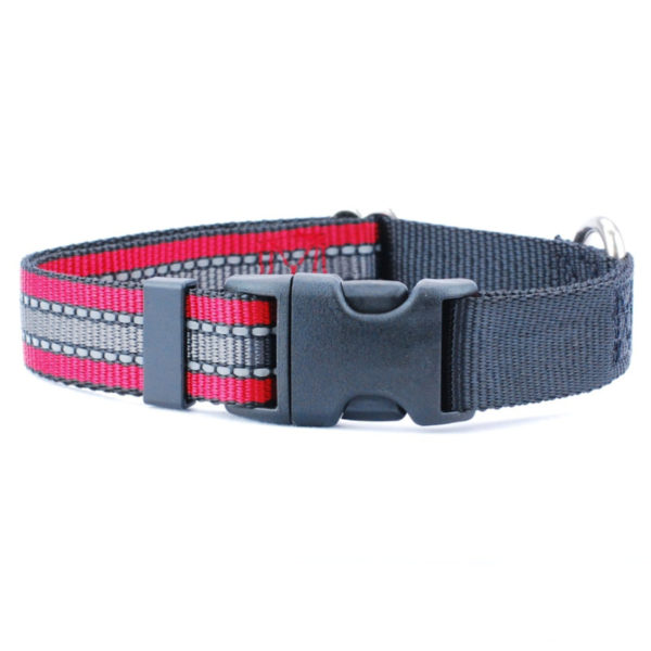 red black and grey reflective 1 inch dog collar