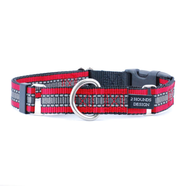 red and grey reflective collar for dogs