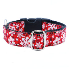 red winter plaid with snow flakes dog collar