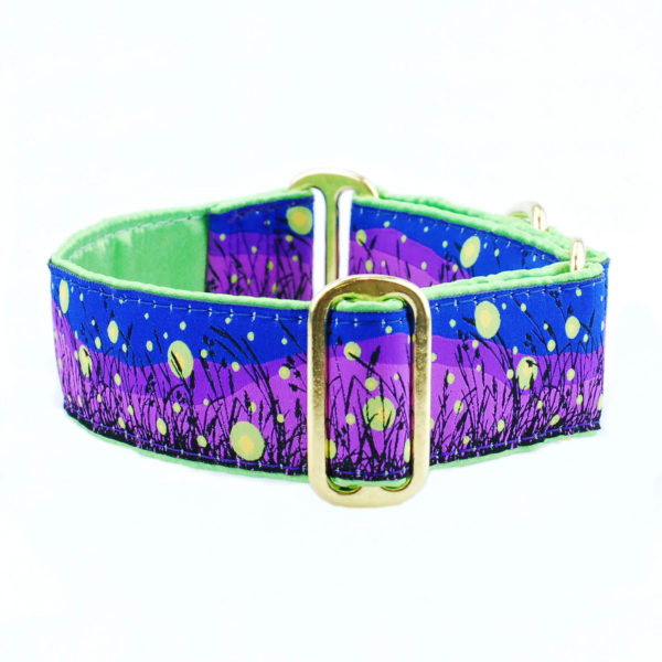 dog collar with purple and green lightening bug pattern
