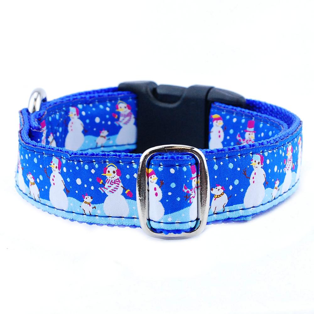 winter theme dog collar with snowmen