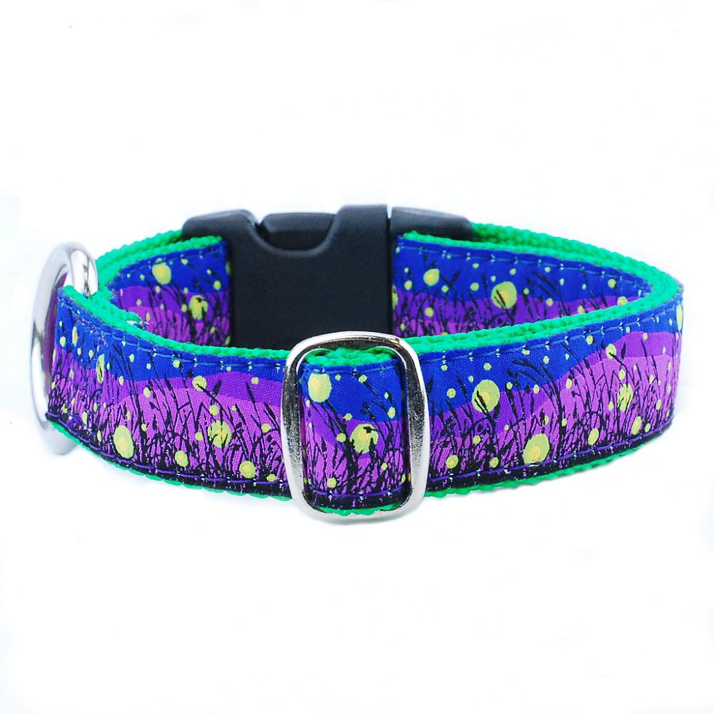 lightening bug blue and purple pattern dog collar