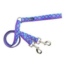 Blue Plaid Double Connection Dog Leash