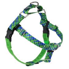 Electric Glow Green Plaid Dog Harness
