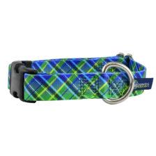 Electric Glow Green Plaid Dog Collar