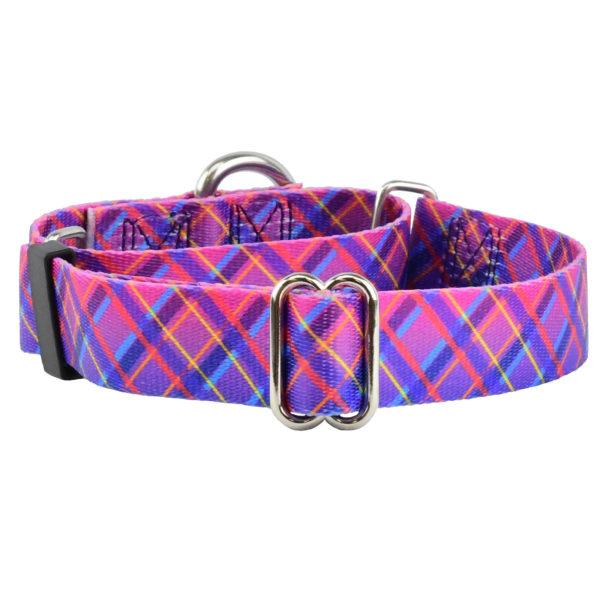 Pink Plaid Martingale Dog Collar