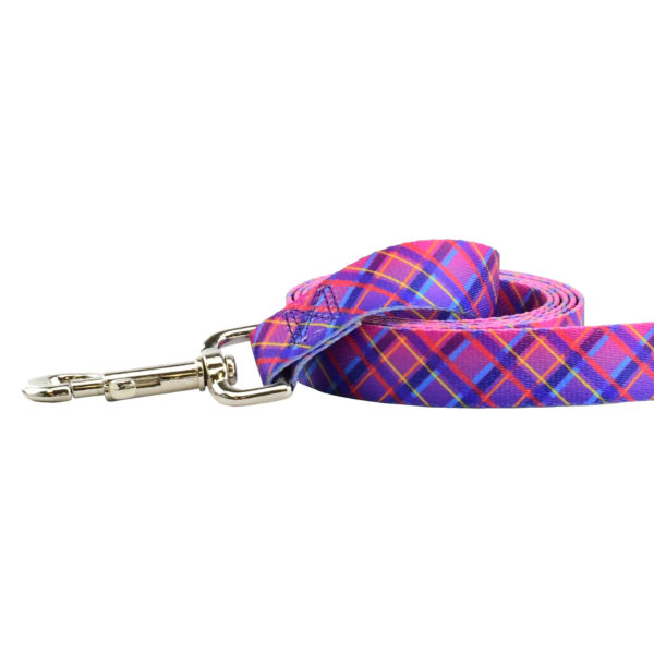 pink plaid dog leash