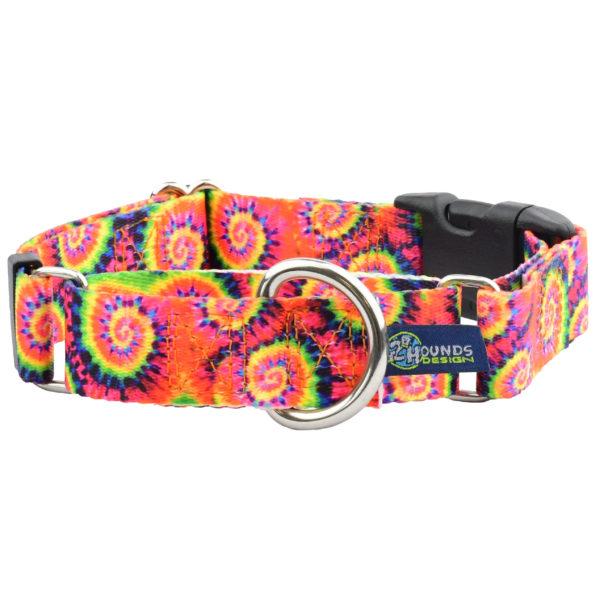 "1"" wide Tie Dye Buckle Martingale Dog Collar"