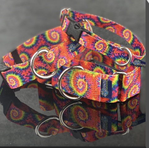 Tie Dye Dog Collar shown martingale and buckle
