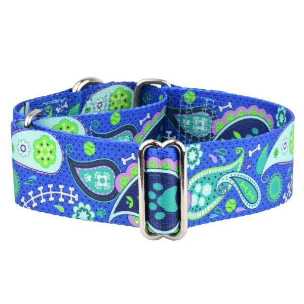 Blue Paisley Wide Dog Collar