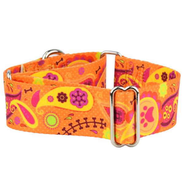 Wide Orange Paisley Dog Collar
