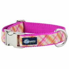 Pink Plaid Dog Collar with metal buckle