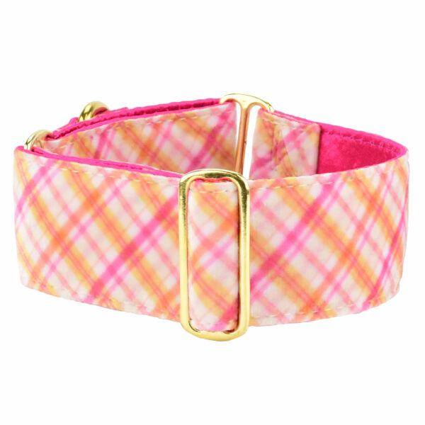 "2"" wide Pink Plaid Dog Collar"